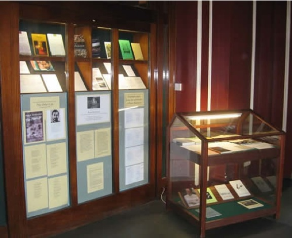 A display of books and manuscripts at the Wodehouse Library, Dulwich College, London, in April - May 2009